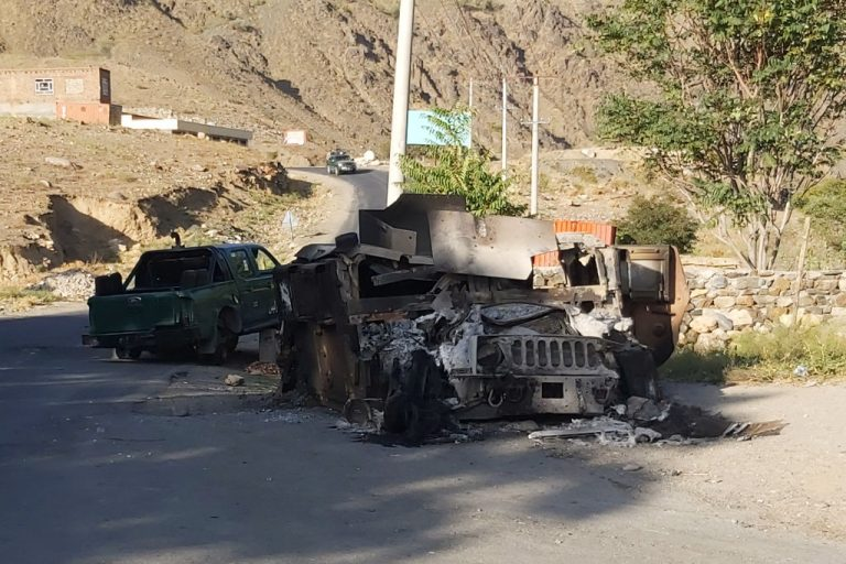 In this photograph taken on September 6, 2021 a burnt down Humvee is seen along a road in Dashtak, Panjshir Province after the Taliban claimed total control over Afghanistan. Reports have confirmed the Taliban executed Rohullah Azizi, brother of Afghanistan's 2004 Constitutional President and National Resistance Front member, Amrullah Saleh.