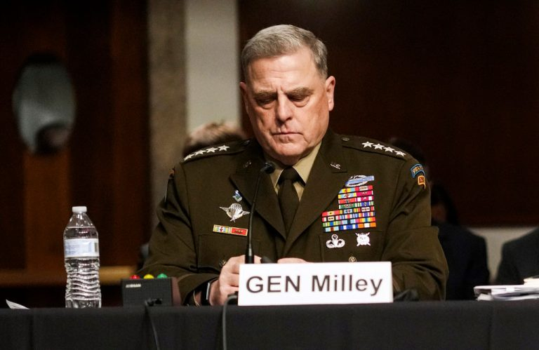 Chairman of the Joint Chiefs of Staff General Mark A. Milley testifies at a Senate Armed Services Committee hearing on the conclusion of military operations in Afghanistan.