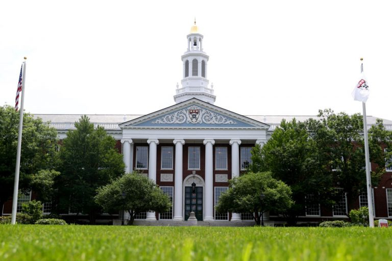 A view of the campus of Harvard Business School on July 8, 2020 in Cambridge, Massachusetts. HBS returned to remote learning for a week to curb a breakthrough outbreak on campus despite its 95 percent vaccination acceptance rate.