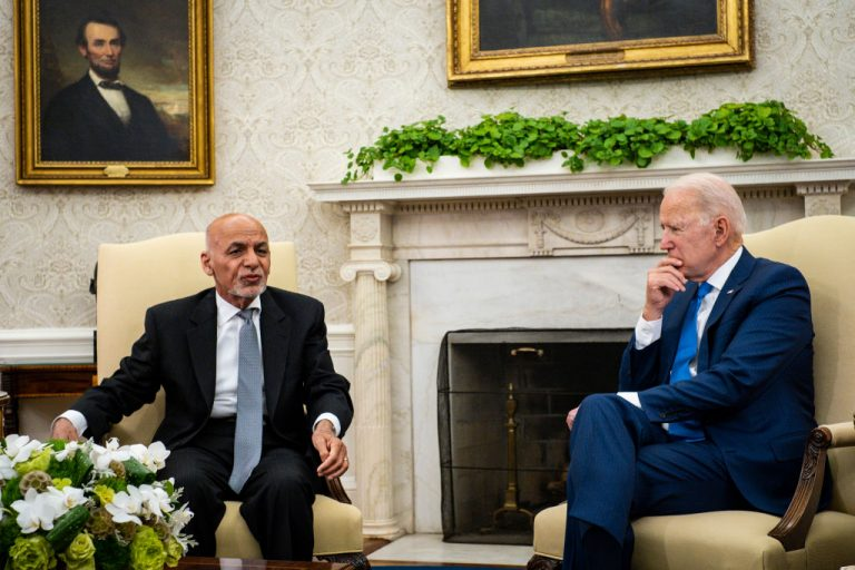 """U.S. President Joe Biden hosts Afghanistan President Ashraf Ghani in the Oval Office at the White House June 25, 2021 in Washington, D.C. A leaked transcript of a call between Biden and Ghani from July 23 showed the Biden administration was aware that Afghanistan was under a full-scale invasion by the Taliban. Biden told Ghani he was concerned about """"perception."""""""