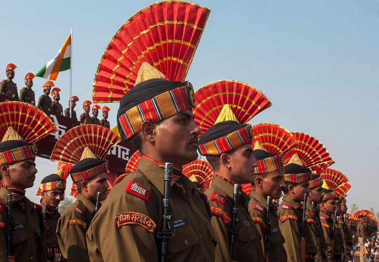 Border Security Force Recruits Graduation Ceremony SRINAGAR, KASHMIR, INDIA - Indian Border Security Force (BSF) soldiers stand in formation during their induction parade on November 16, 2013 in Humhama, on the outskirts of Srinagar. In 2013, India had already close to a million soldiers posted in Jammu and Kashmir, making the disputed Himalayan region one of the most militarized zone in the world