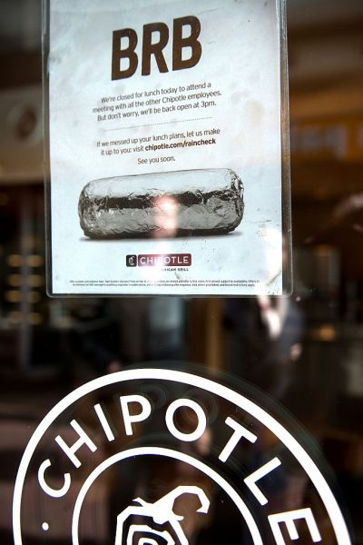 A sampling of salmonella outbreaks receiving wide media coverage over the past 15 years was reviewed to determine potential vectors in this most recent heavily--covered outbreak. On February 8, 2016. Chipotle closed its nearly 2,000 locations in the US for several hours on February 8 for a video conference meeting with company executives on food security following outbreaks of E-coli, salmonella and norovius in their restaurants in several states across the country.