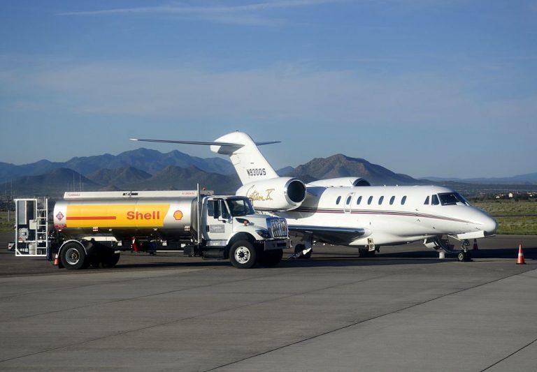 A Cessna Citation X passenger jet refueling from Santa Fe Municipal Airport in Santa Fe, New Mexico.