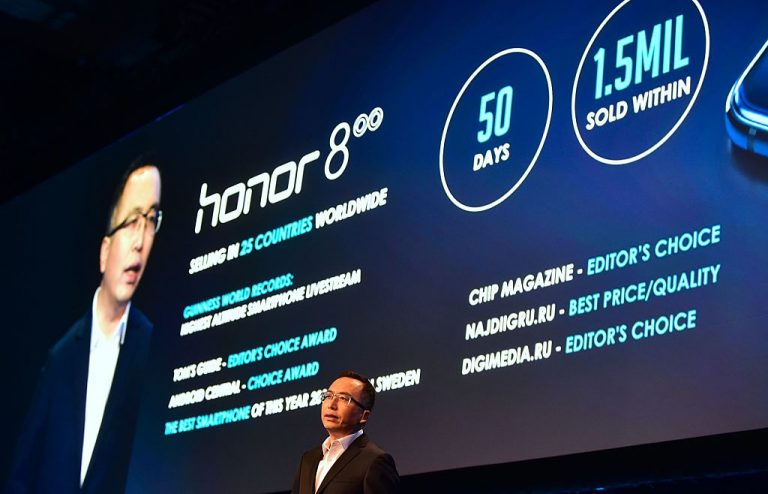 George Zhao, President of Honor, speaks during the company's press conference at the 2017 Consumer Electronics Show (CES2017) in Las Vegas, Nevada, on January 3, 2017. The Biden administration is split on whether to treat Honor the same as Huawei by adding it to the Commerce Department's Entity List.