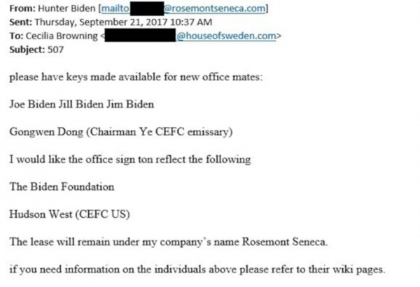 Hunter Biden requested office mate keys for Joe Biden and Chinese partner in this email