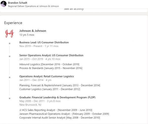 Screenshot of Brandon Schadt's 13+ year employment history with Johnson & Johnson on LinkedIn