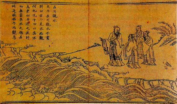 Photograph of Ming dynasty painting depicting Confucius with his students.