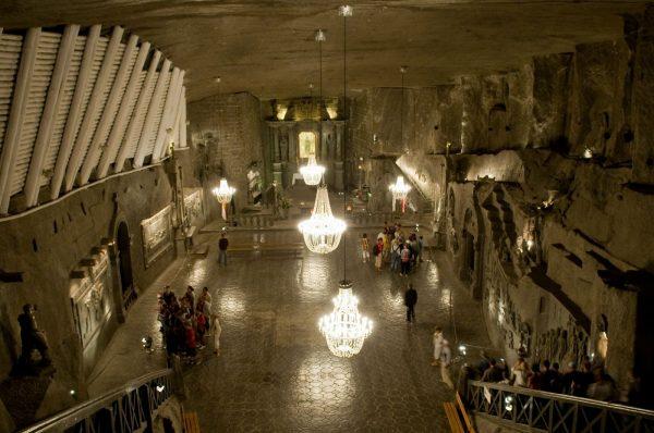 The Wieliczka Salt Mine has thousands of rooms and vast halls with functioning salt chandeliers.