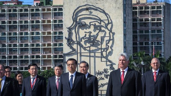 """Chinese Premier Li Keqiang (2nd-L), standing next to Cuban then-Vice President Miguel Diaz-Canel (2nd-R), attends a wreath-laying ceremony at the Jose Marti monument in Revolution Square of Havana, on September 24, 2016. Diaz-Canel called for """"revolutionaries"""" and """"communists"""" to assault Cuban protestors in a televised address."""