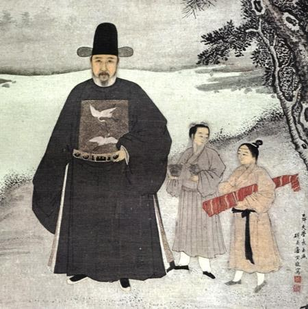 """A Ming Dynasty portrait of the Chinese official Jiang Shunfu (1453–1504), now in the Nanjing Museum. The decoration of two cranes on his chest is a """"rank badge"""" that indicates that he was a civil official of the sixth rank; refer to page 282 of Patricia Ebrey's paperback edition of Cambridge Illustrated History of China."""