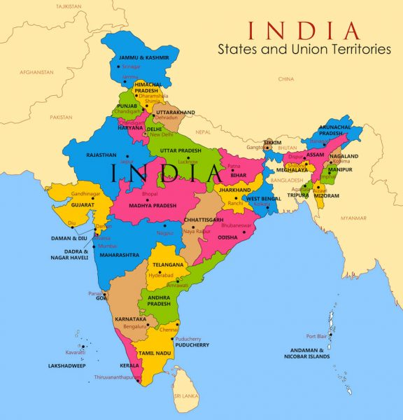 A current children's map of India