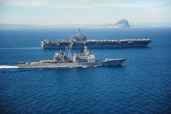 The US Navy deployed aircraft carrier strike groups to the East and South China Seas. The USS Theodore Roosevelt conducts operations in the Strait Of Gibraltar on March 31, 2015, in this handout provided by the U.S. Navy.