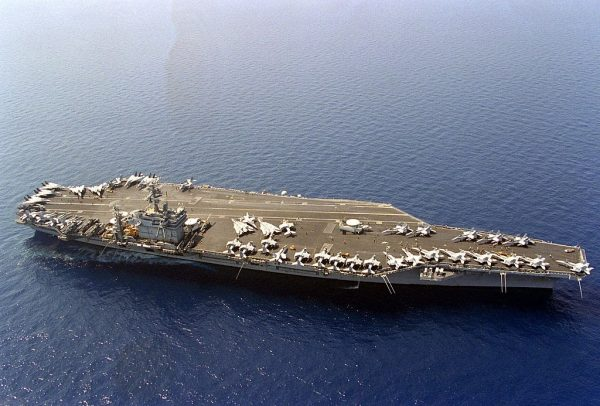 US carrier Theodore Roosevelt afloat off the Adriatic coast between Albania and Italy, 16 August 1993.