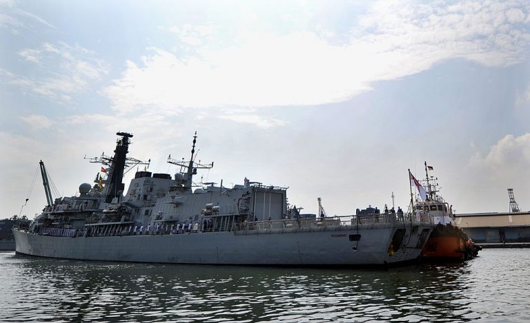HMS Richmond, Britain's Anti Submarine Warfare Frigates enters Indonesia's port Tanjung Priok during a visit in Jakarta on May 22, 2011.