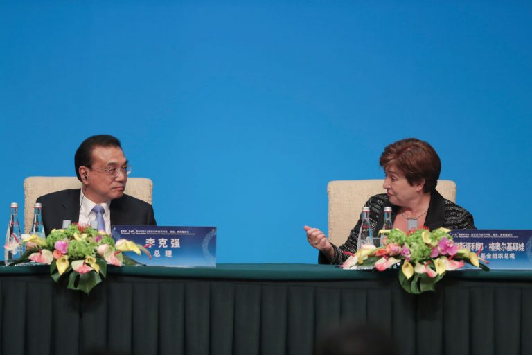 International Monetary Fund (IMF) Managing Director Kristalina Georgieva (R) speaks with Chinese Premier Li Keqiang (L) during a press conference for the the Fourth 1+6 Roundtable Dialogue at Diaoyutai State Guest House on November 21, 2019 in Beijing, China.