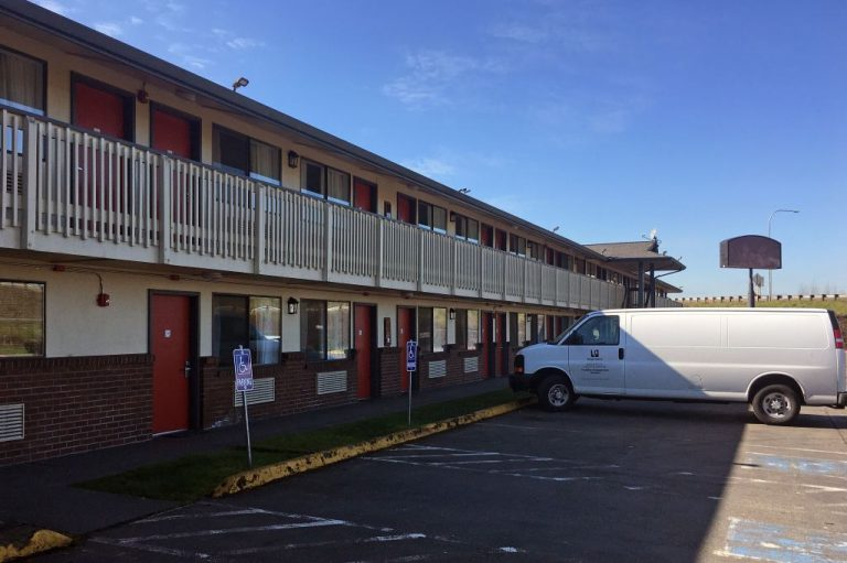 """The Kent quarantine motel is pictured on March 9, 2020 .Lewis County recently opened hiring for three staffers for a """"Isolation and Quarantine Facility,"""" stoking fears that COVID-19 internment camps may be coming to America."""