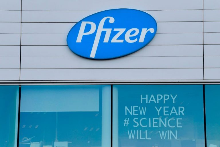 A photo of the Pfizer logo in Puurs, Belgium. Emails from Pfizer executives leaked to Project Veritas confirm that the company is using human embryonic kidney cells in its COVID-19 mRNA vaccine testing program.