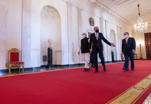 Washington, DC, September 24, 2021: Quad leaders walk to the East Room of the White House for the Quad Leaders Summit. Indian Prime Minister Narendra Modi (L) and Japanese Prime Minister Yoshihide Suga (R).