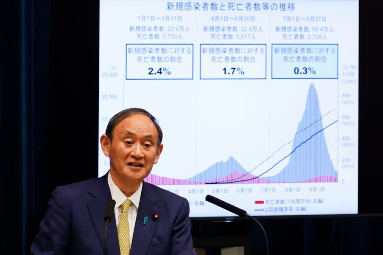 TOKYO, JAPAN - SEPTEMBER 28: Japan's Prime Minister Yoshihide Suga speaks during a press conference at the Prime Minister's official residence on September 28, 2021 in Tokyo, Japan. Mr Suga announced that the coronavirus state of emergency will end on Thursday, September 30.
