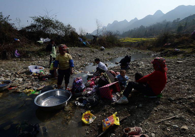 Rural residents doing their washing near the city of Anshun, Guizhou Province.
