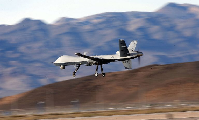 Image has been reviewed by the U.S. Military prior to transmission.) An MQ-9 Reaper remotely piloted aircraft (RPA) flies by during a training mission at Creech Air Force Base on November 17, 2015 in Indian Springs, Nevada. The Pentagon has plans to expand combat air patrols flights by remotely piloted aircraft by as much as 50 percent over the next few years to meet an increased need for surveillance, reconnaissance and lethal airstrikes in more areas around the world.