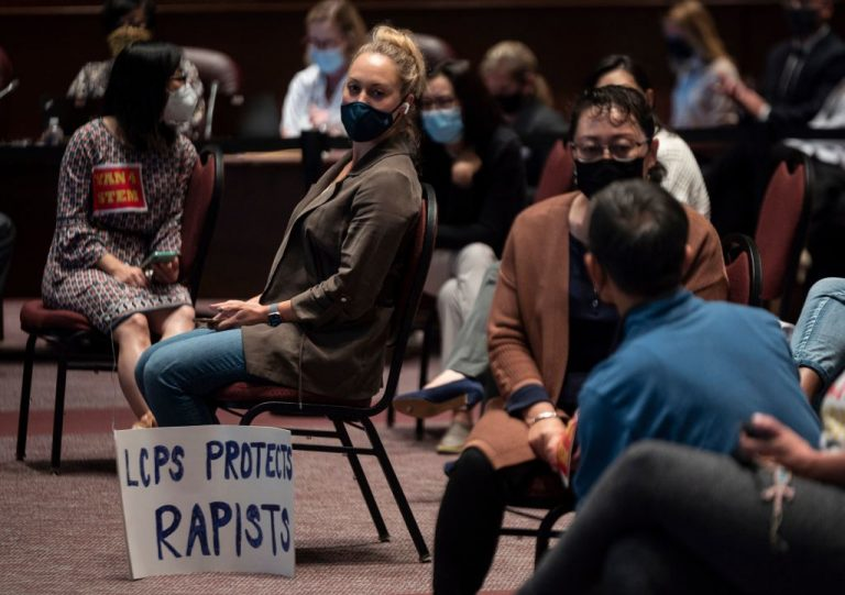 A protestor at a Loudoun County Public Schools (LCPS) board meeting in Ashburn, Virginia on October 12, 2021. LCPS claims Board members were not aware of a violent rape against a ninth grade girl that occurred in May at Stone Bridge High School by a boy wearing a skirt, allegedly self-identifying as female, who entered a girl's bathroom until the story broke in mainstream media in mid-October.