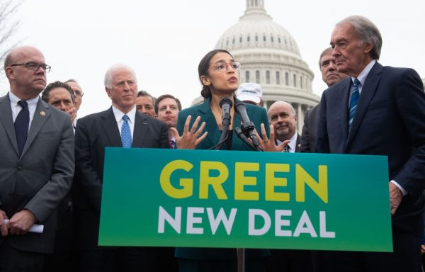 Rep. Alexandria Ocasio-Cortez (D-NY) and Sen. Ed Markey (R) (D-MA) announce the socialist Green New Deal proposal in Washington, D.C. on February 7, 2019. The far-left Washington Post and Republicans have joined forces in a rare meeting of the minds to describe Biden's new American Jobs Plan as the Green New Deal.