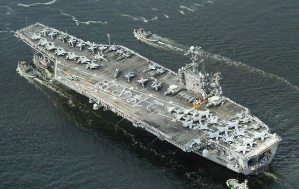 U.S. nuclear powered aircraft carrier George Washington heads for the Yokosuka U.S. naval base in Yokosuka City in Kanagawa Prefecture on September 25, 2008. Left-biased public broadcaster NPR criticized the 567 mile border wall for its $11 billion estimated price tag when Trump was still President, saying it would cost as much as a nuclear aircraft carrier. The United States has 11 nuclear aircraft carriers.