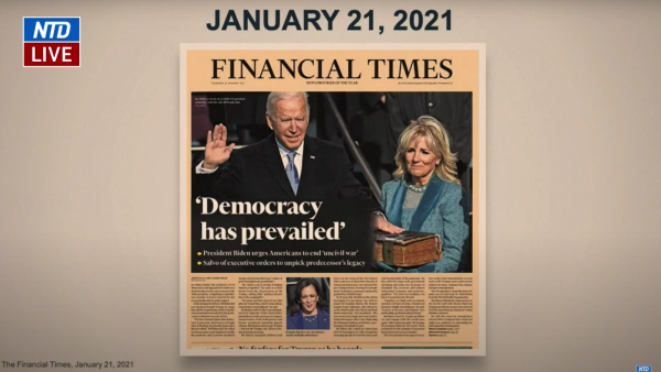 Screenshot of Rep. David Cicilline's (D-RI) presentation on Feb. 11. Cicilline said 'Democracy has prevailed' because both Joe Biden and the media said it was true.