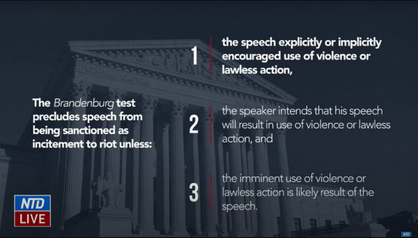 The Defense implored the Senate to use the Supreme Court's Brandenburg Test as a legal standard to determine if Trump's words on Jan. 6 constituted incitement to riot as alleged in the single Article of Impeachment put forward by the House of Representatives. (