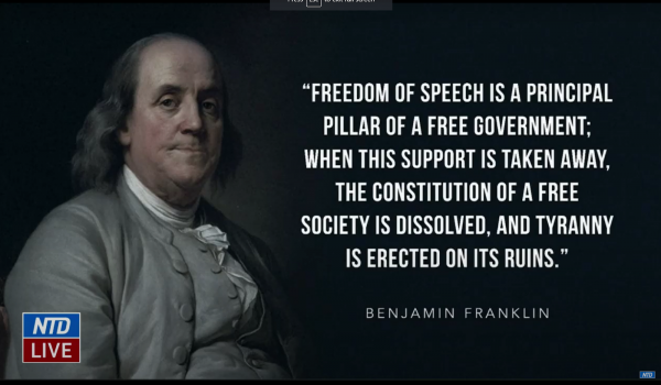 Michael van der Veen relied on a quote from Benjamin Franklin regarding free speech and its significance to the difference between a free society and tyranny.