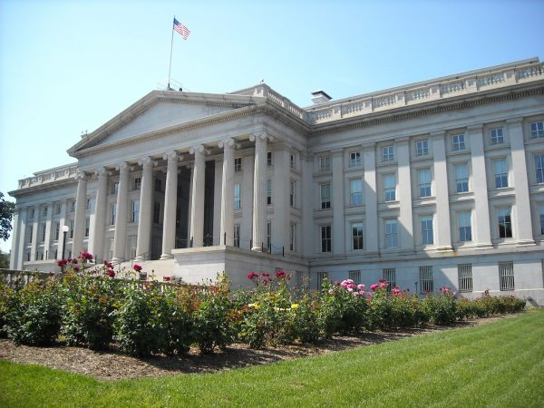 Rear view of the Treasury Department building in Washington, D.C. The building is a National Historic Landmark.