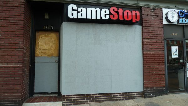 A Gamestop location closed after rioting.