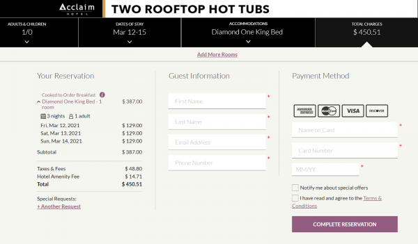 The cost of a three-night stay in a one-bedroom suite with breakfast included for a retail customer at the Acclaim Hotel, where the Canada hotel quarantine program takes place on the third floor, was $450.51 CAD. Rebel News's Keean Bexte was charged $960.40 for his federally mandated stay.