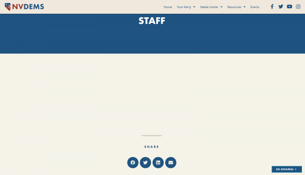 Screenshot of the Nevada Democratic Party webpage on March 11. Currently, the staff section is completely blank because all members resigned after a Democratic Socialists of America-backed coalition swept all seats in a recent election.