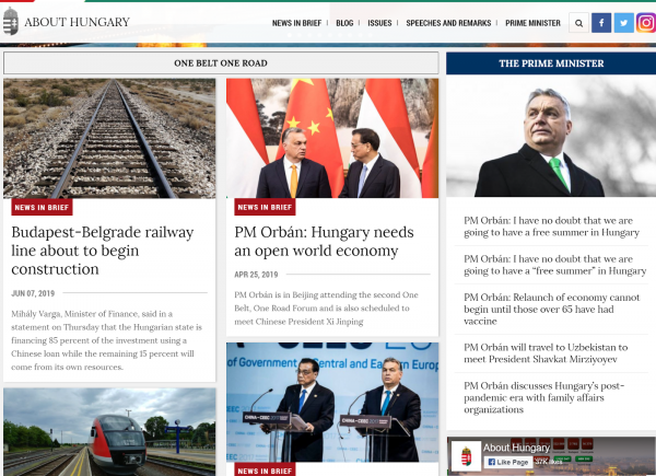 Screenshot of the Prime Minister's Office's About Hungary website, showing the Orban government's boasting of its participation in the Chinese Communist Party's globalist hegemony scheme, the Belt and Road Initiative.