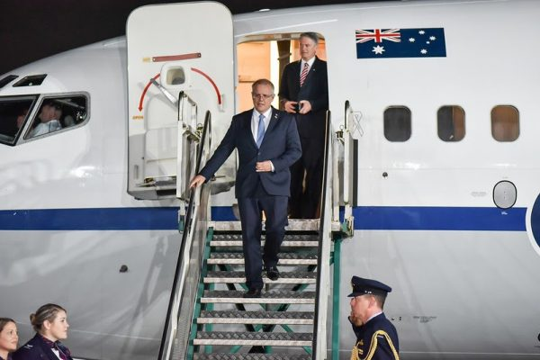 Australian Prime Minister Scott Morrison as he arrives at the Argentina G20 Conference in November 2019. Morrison hit back at Google and Facebook's threats to cancel Australians unless Morrison cancels plans to require the tech giants to pay Australian news companies for utilizing their content for free.