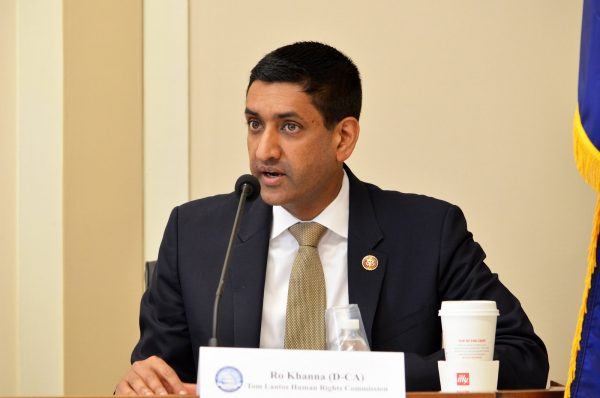 """Ro Khanna (D), a member of the House Foreign Affairs Committee criticized Biden's military action. In this 2019 photo, he delivers remarks during the briefing """"Women's Human Rights Defenders in Saudi Arabia."""""""