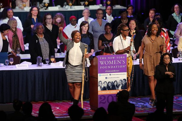 Black Lives Matter co-founders Patrisse Cullors, Alicia Garza and Opal Tometi speak onstage during The New York Women's Foundation Celebrating Women Breakfast at Marriott Marquis Hotel on May 14, 2015, in New York City.