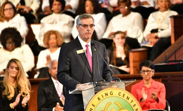 Brad Raffensperger, Georgia Secretary of State speaks onstage during the 2020 Martin Luther King, Jr. Commemorative Service at Ebenezer Baptist Church on January 20, 2020, in Atlanta, Georgia. In the Washington Post correction, Raffensperger confirmed Trump had made the call to Watson but did not correct the publication on the details of her call.