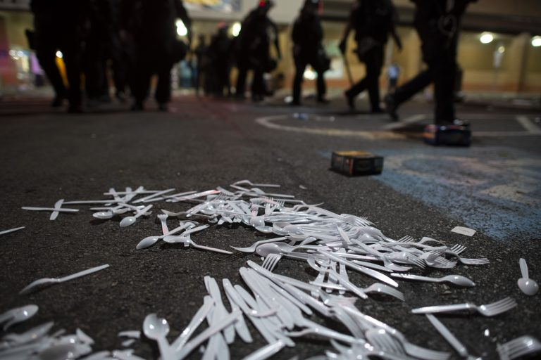 supply-chain-plastic-utensils-on-ground-philadelphia-blm-protests_george-floyd_GettyImages-1216619816
